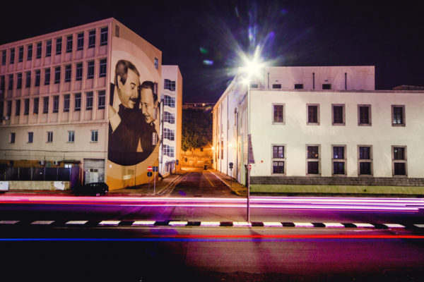 Murales Falcone Borsellino La Cala Palermo Light Night Scie luminose